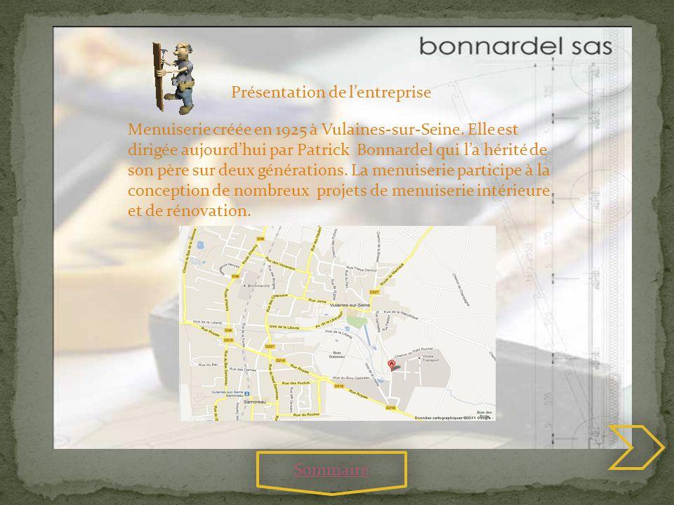 Présentation de lentreprise Menuiserie créée en 1925 à Vulaines-sur-Seine. Elle est dirigée aujourdhui par Patrick Bonnardel qui la hérité de son père