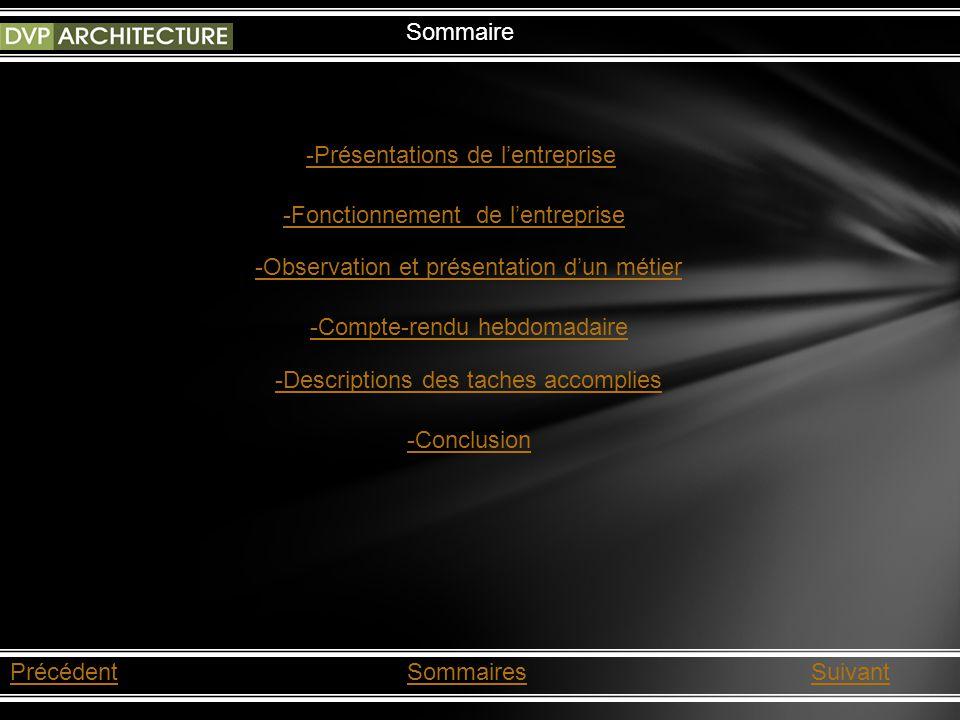 PrécédentSommairesSuivant Sommaire -Présentations de lentreprise -Fonctionnement de lentreprise -Observation et présentation dun métier -Compte-rendu hebdomadaire -Descriptions des taches accomplies -Conclusion