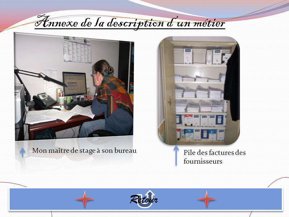 Annexe de la description dun métier Retour Mon maître de stage à son bureau Pile des factures des fournisseurs
