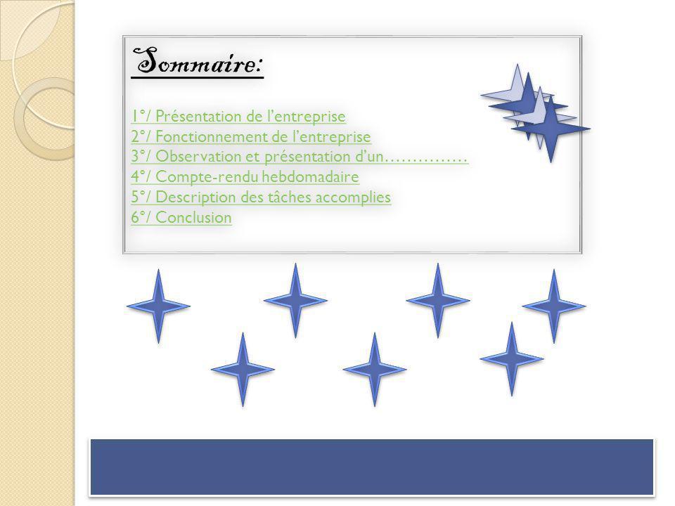 Sommaire: 1°/ Présentation de lentreprise 2°/ Fonctionnement de lentreprise 3°/ Observation et présentation dun…………… 4°/ Compte-rendu hebdomadaire 5°/