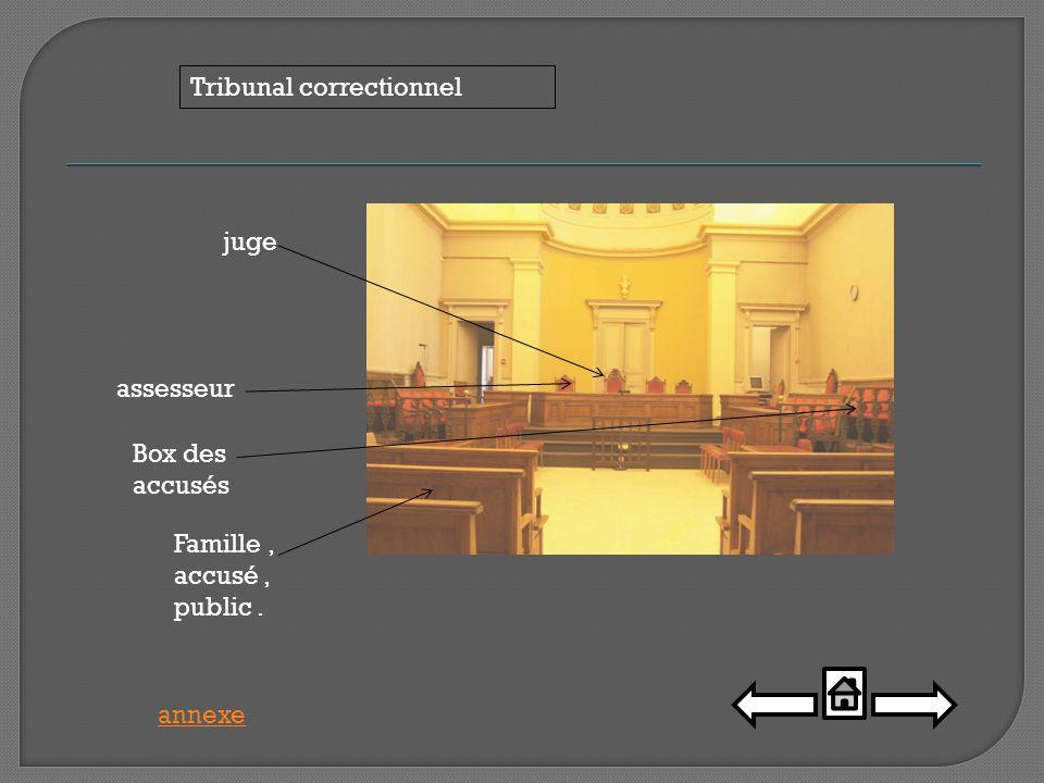 juge Famille, accusé, public. assesseur Box des accusés Tribunal correctionnel annexe