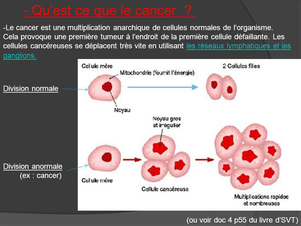 -Le cancer est une multiplication anarchique de cellules normales de lorganisme. Cela provoque une première tumeur à lendroit de la première cellule d