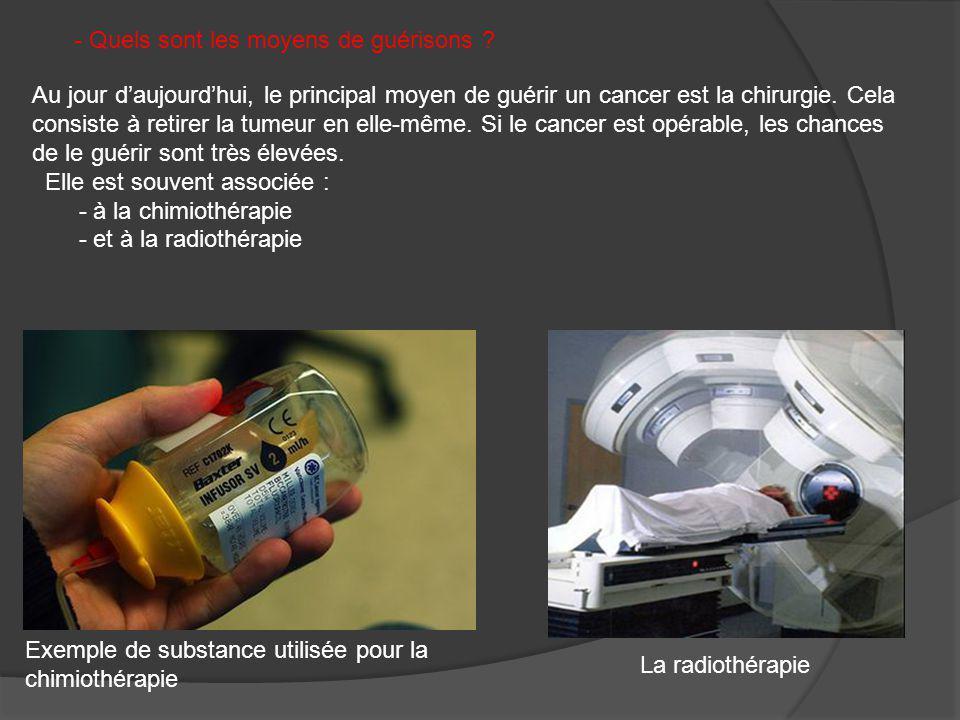 - Quels sont les moyens de guérisons ? Au jour daujourdhui, le principal moyen de guérir un cancer est la chirurgie. Cela consiste à retirer la tumeur