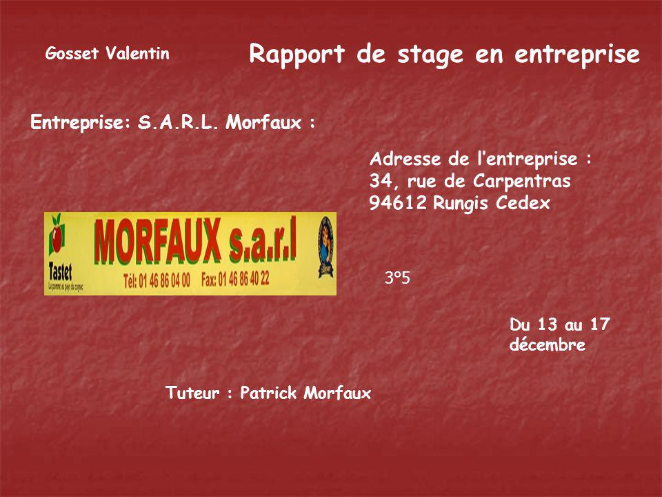 Rapport de stage en entreprise Entreprise: S.A.R.L. Morfaux : A d r e s s e d e l e n t r e p r i s e : 3 4, r u e d e C a r p e n t r a s 9 4 6 1 2 R
