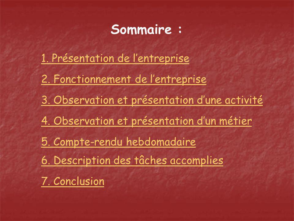 Sommaire : 1. Présentation de lentreprise 2. Fonctionnement de lentreprise 3. Observation et présentation dune activité 4. Observation et présentation
