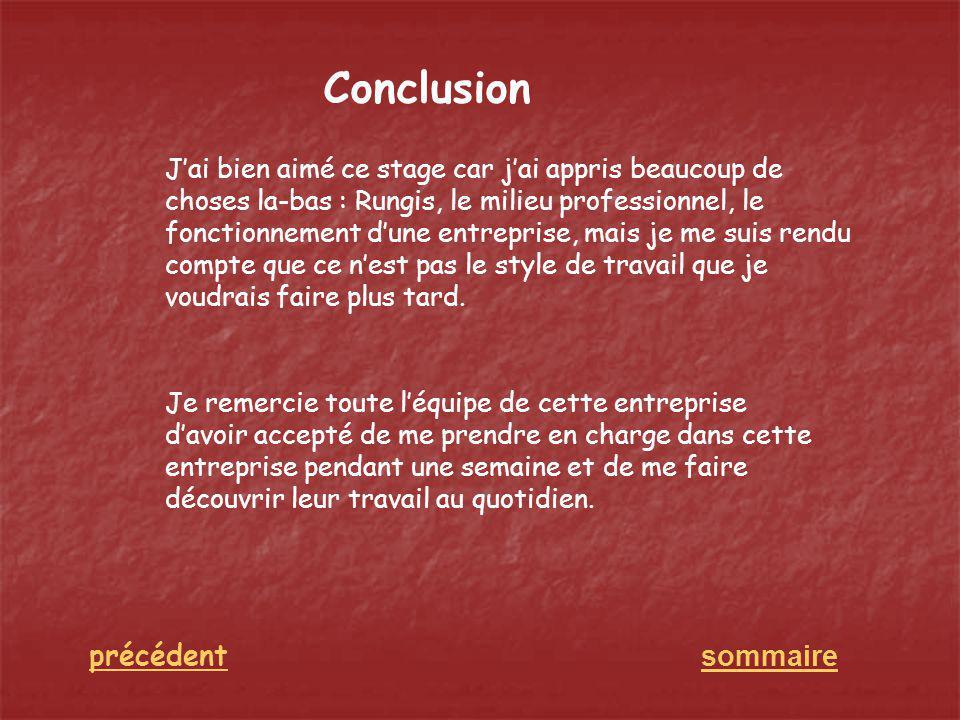Conclusion sommaire précédent Jai bien aimé ce stage car jai appris beaucoup de choses la-bas : Rungis, le milieu professionnel, le fonctionnement dun