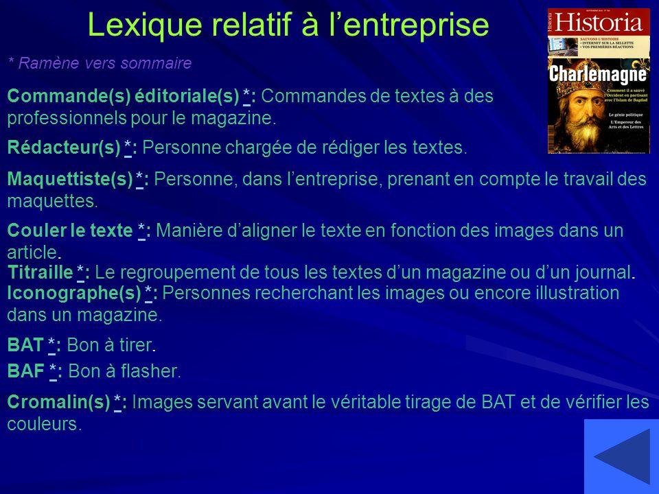 Lexique relatif à lentreprise Commande(s) éditoriale(s) *: Commandes de textes à des professionnels pour le magazine. Rédacteur(s) *: Personne chargée