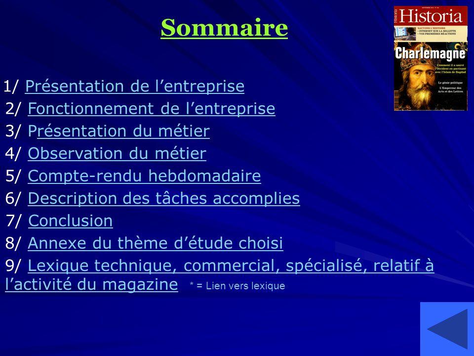Sommaire 1/ Présentation de lentreprise 2/ Fonctionnement de lentreprise 3/ Présentation du métier 4/ Observation du métier 5/ Compte-rendu hebdomadai
