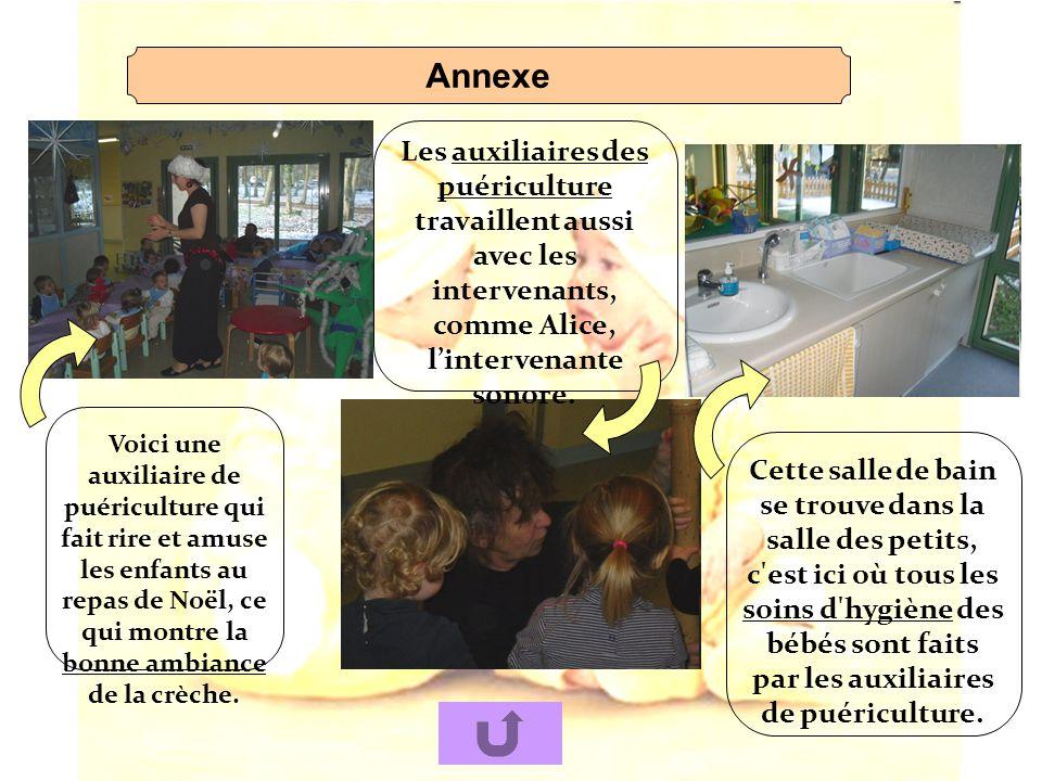 Annexe Les auxiliaires des puériculture travaillent aussi avec les intervenants, comme Alice, lintervenante sonore. Cette salle de bain se trouve dans