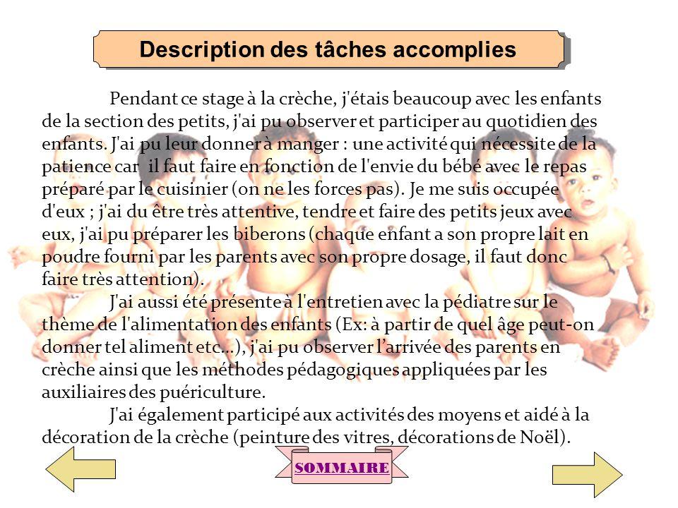 Description des tâches accomplies SOMMAIRE Pendant ce stage à la crèche, j'étais beaucoup avec les enfants de la section des petits, j'ai pu observer