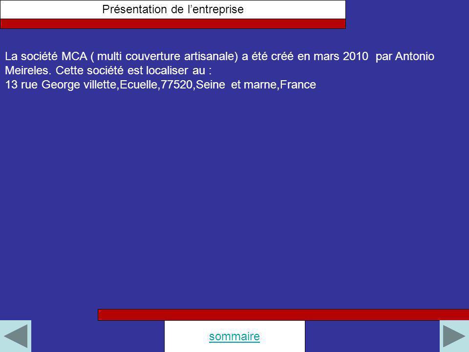Présentation de lentreprise sommaire La société MCA ( multi couverture artisanale) a été créé en mars 2010 par Antonio Meireles. Cette société est loc