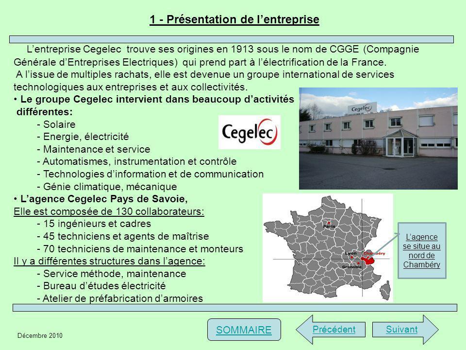 Décembre 2010 1 - Présentation de lentreprise PrécédentSuivant SOMMAIRE Lentreprise Cegelec trouve ses origines en 1913 sous le nom de CGGE (Compagnie Générale dEntreprises Electriques) qui prend part à lélectrification de la France.
