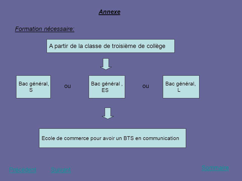 Annexe A partir de la classe de troisième de collège Bac général, ES Ecole de commerce pour avoir un BTS en communication ou Bac général, L ou Bac gén