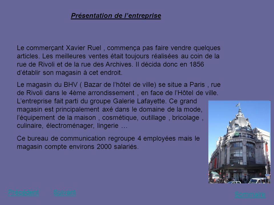 Sommaire PrécédentSuivant Présentation de lentreprise Le commerçant Xavier Ruel, commença pas faire vendre quelques articles. Les meilleures ventes ét