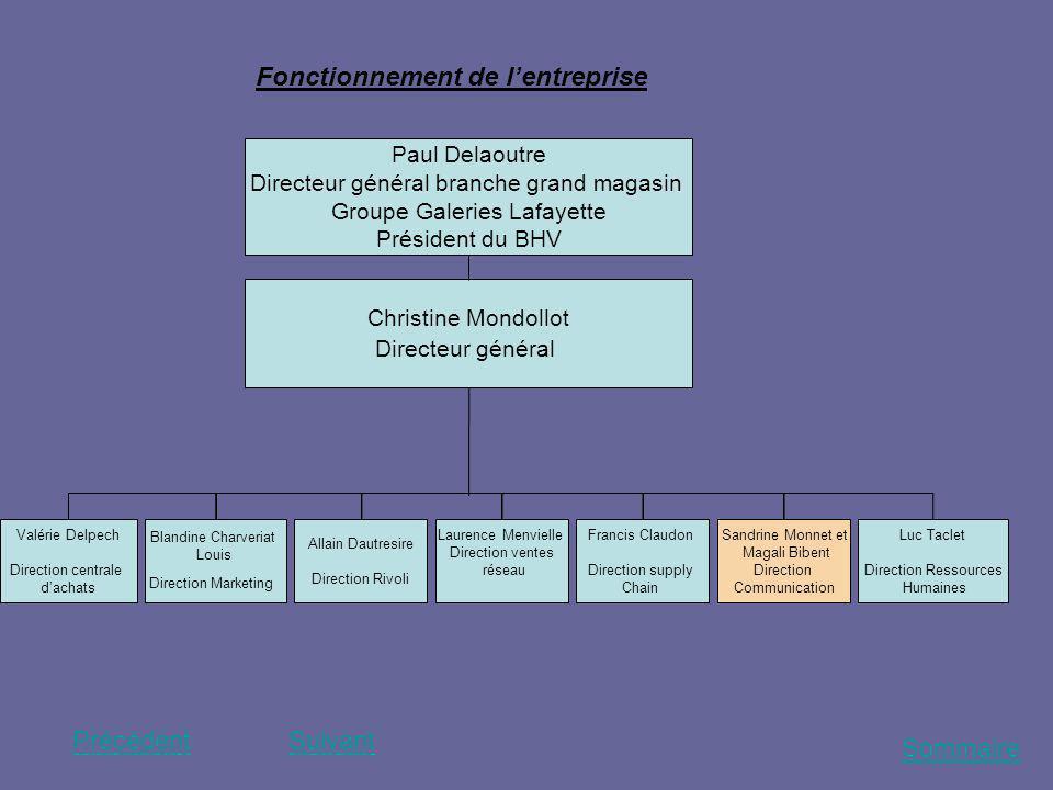 Sommaire PrécédentSuivant Fonctionnement de lentreprise Paul Delaoutre Directeur général branche grand magasin Groupe Galeries Lafayette Président du