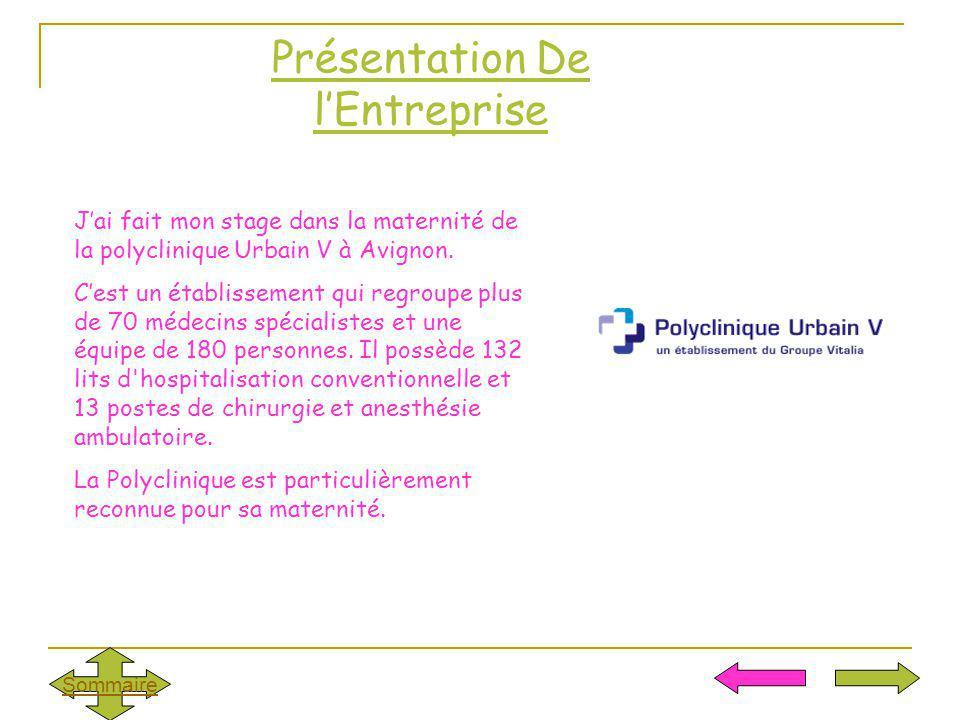 Présentation De lEntreprise Jai fait mon stage dans la maternité de la polyclinique Urbain V à Avignon. Cest un établissement qui regroupe plus de 70
