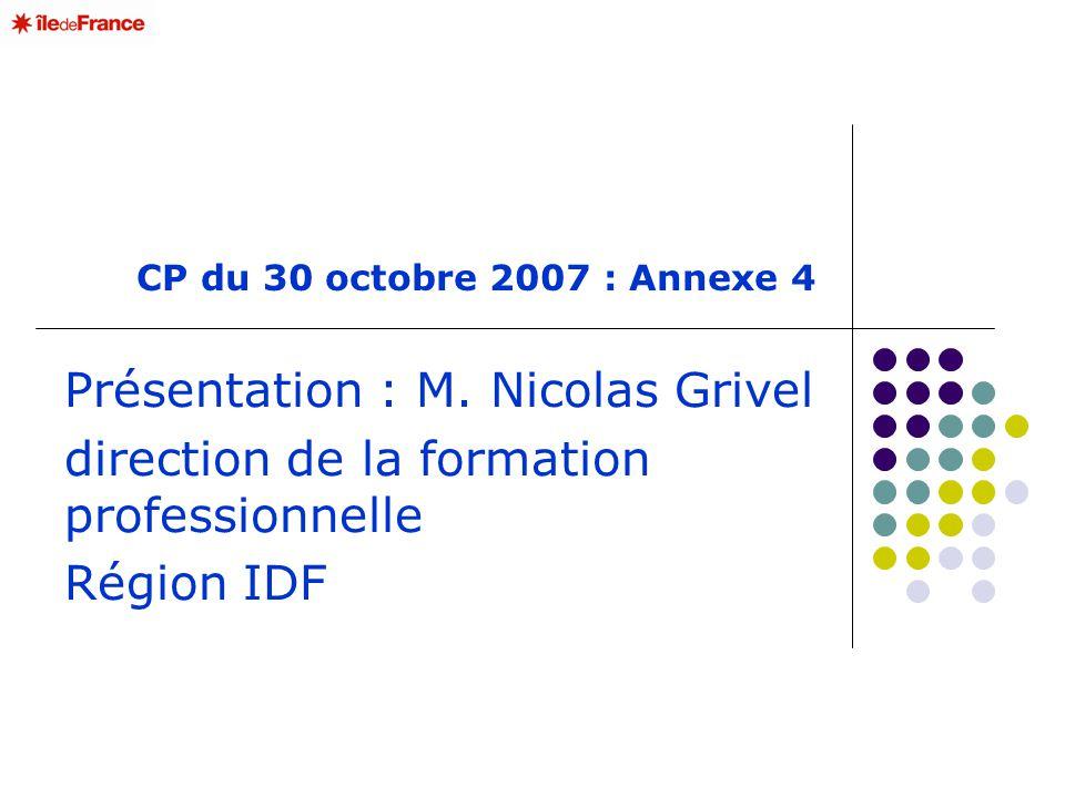 CP du 30 octobre 2007 : Annexe 4 Présentation : M. Nicolas Grivel direction de la formation professionnelle Région IDF