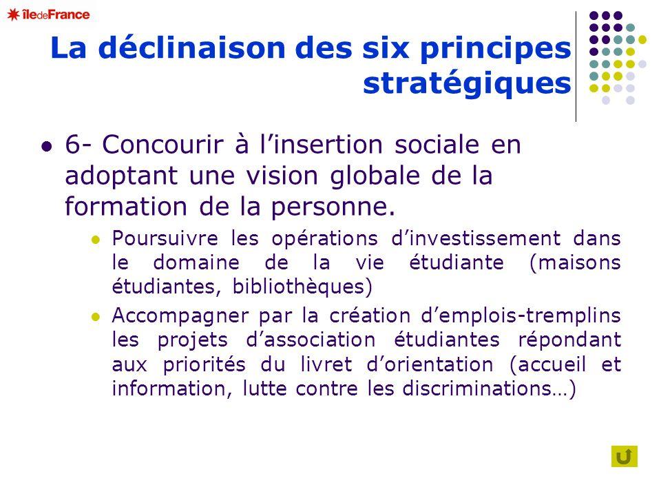 La déclinaison des six principes stratégiques 6- Concourir à linsertion sociale en adoptant une vision globale de la formation de la personne. Poursui