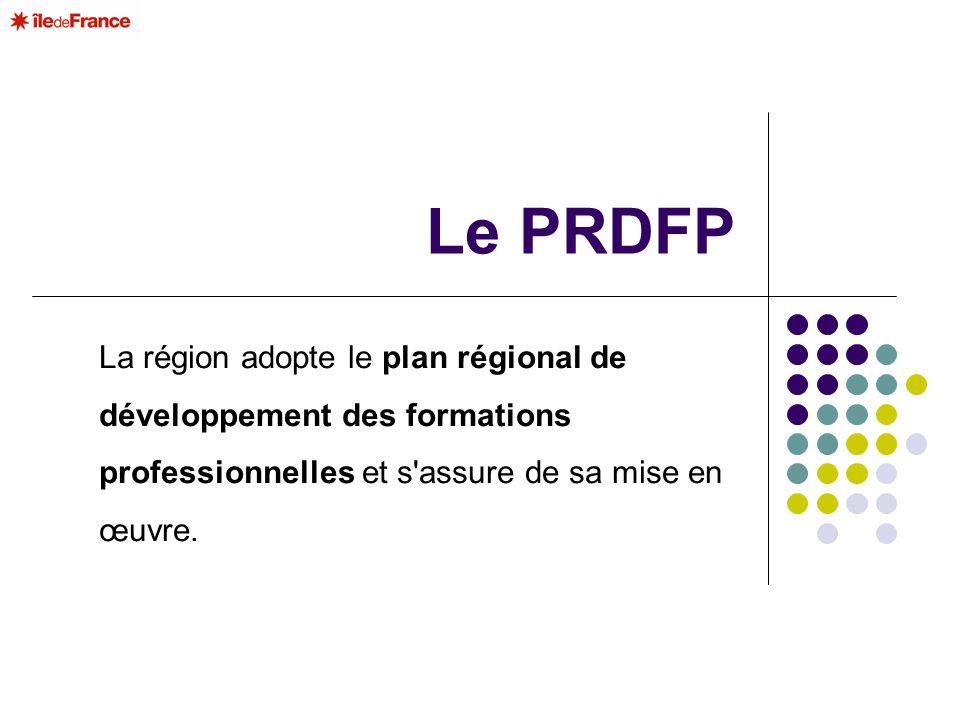 Le PRDFP La région adopte le plan régional de développement des formations professionnelles et s'assure de sa mise en œuvre.