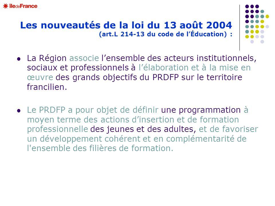 Les nouveautés de la loi du 13 août 2004 (art.L 214-13 du code de lÉducation) : La Région associe lensemble des acteurs institutionnels, sociaux et pr