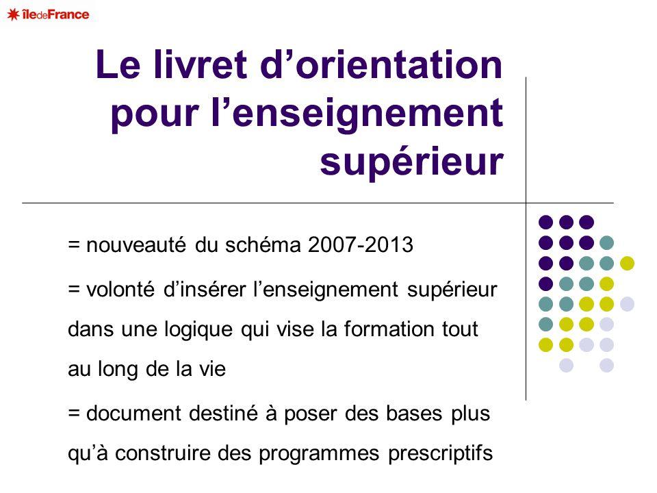 Le livret dorientation pour lenseignement supérieur = nouveauté du schéma 2007-2013 = volonté dinsérer lenseignement supérieur dans une logique qui vi