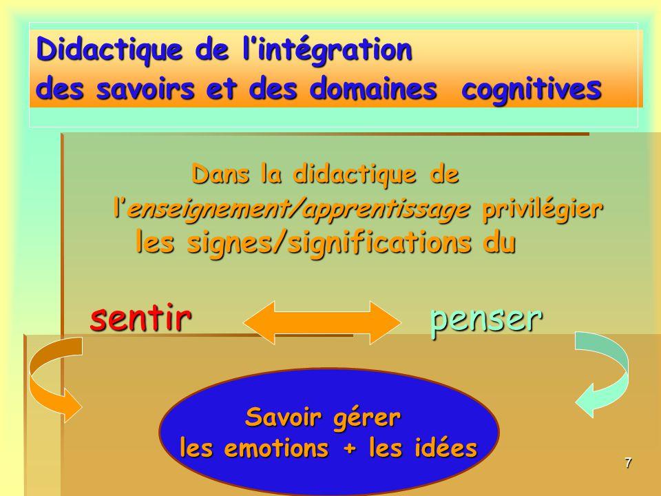 7 Dans la didactique de lenseignement/apprentissage privilégier les signes/significations du sentirpenser sentir penser Didactique de lintégration des savoirs et des domaines cognitives Savoir gérer les emotions + les idées