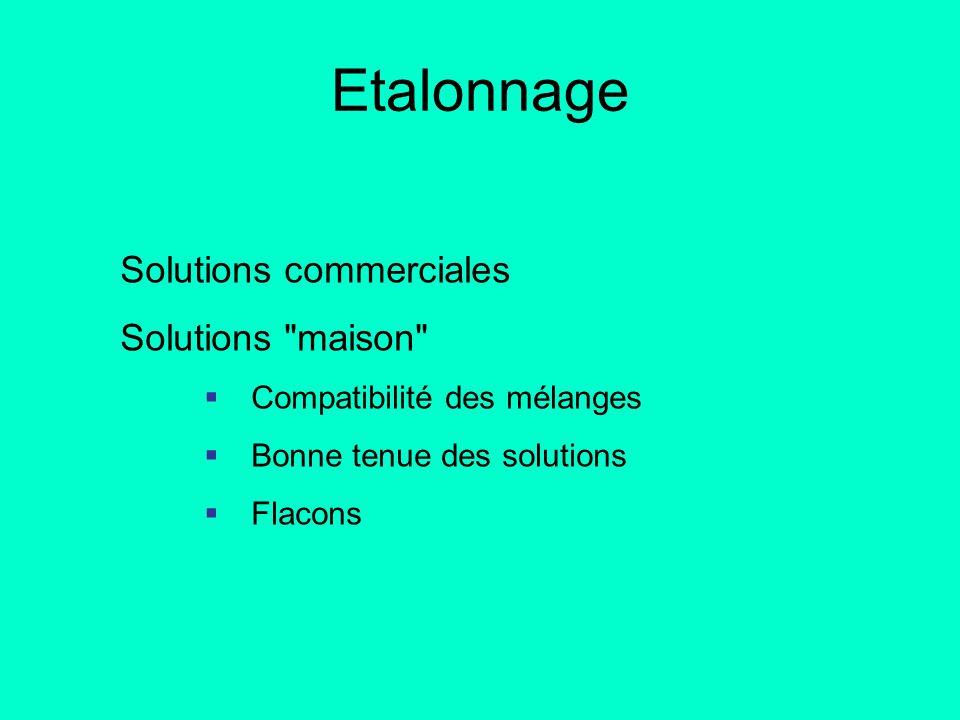 Etalonnage Solutions commerciales Solutions