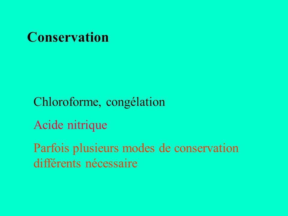 Conservation Chloroforme, congélation Acide nitrique Parfois plusieurs modes de conservation différents nécessaire