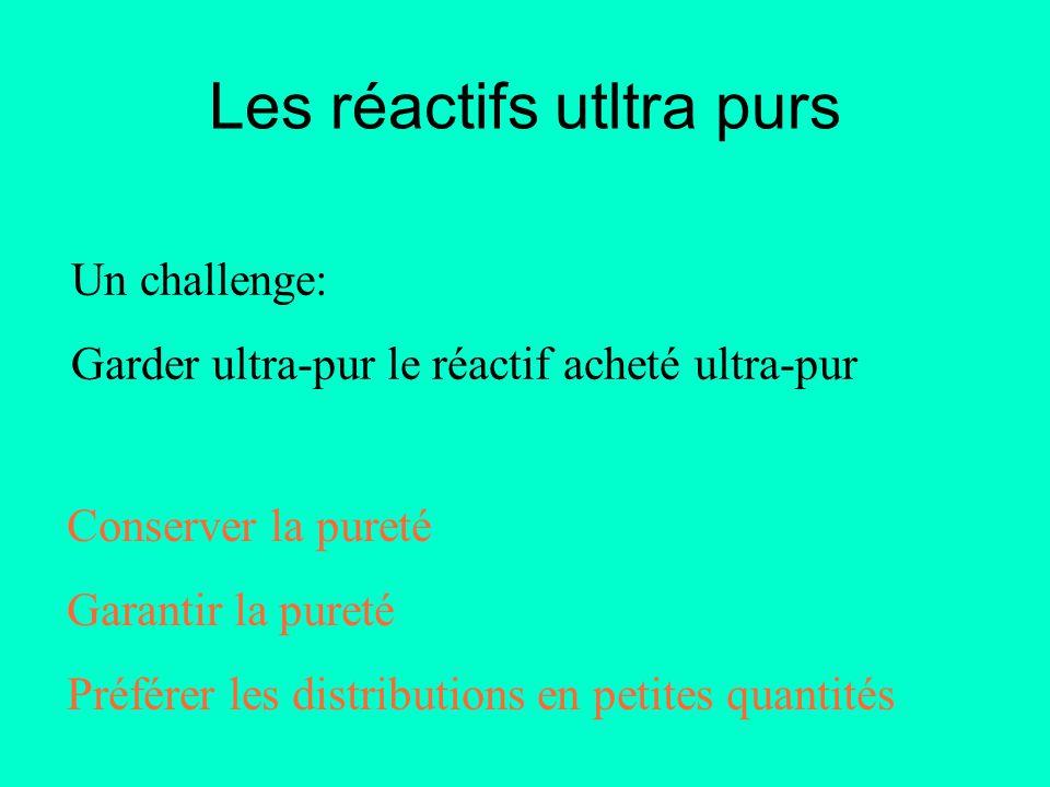 Un challenge: Garder ultra-pur le réactif acheté ultra-pur Conserver la pureté Garantir la pureté Préférer les distributions en petites quantités Les