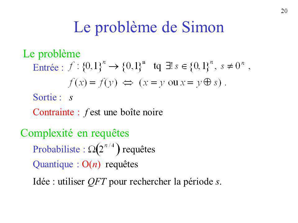 20 Le problème de Simon Le problème Entrée : Sortie : s Complexité en requêtes Contrainte : f est une boîte noire Probabiliste : requêtes Quantique :