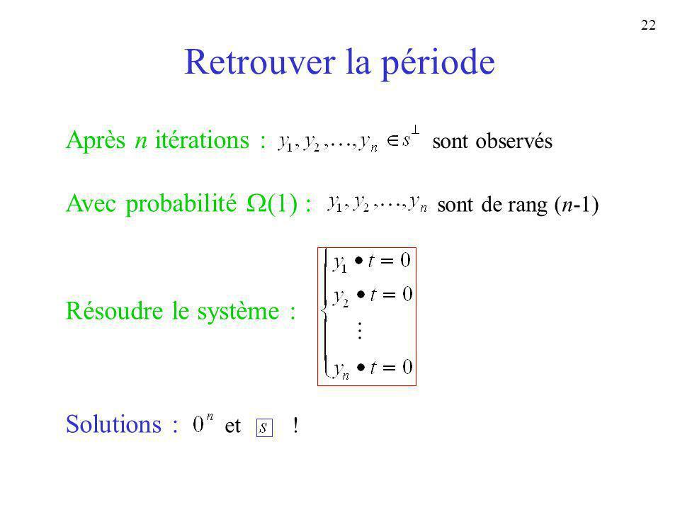 22 Retrouver la période Après n itérations : sont observés Avec probabilité (1) : sont de rang (n-1) Résoudre le système : Solutions : et !