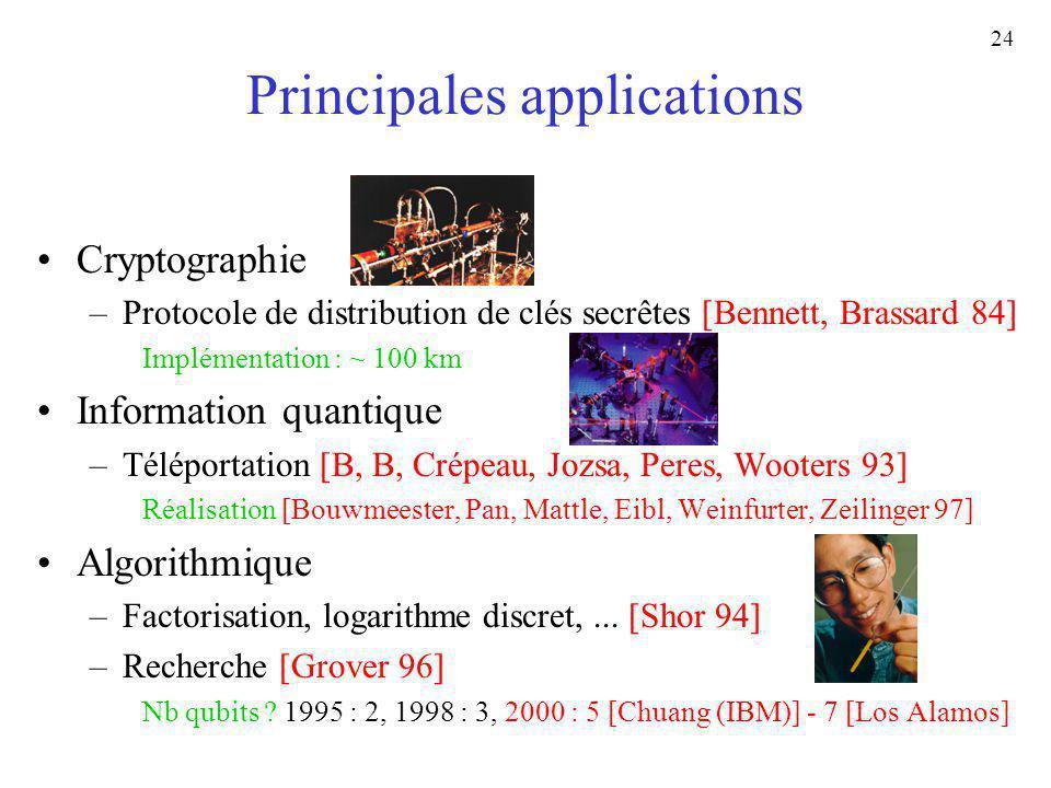 24 Principales applications Cryptographie –Protocole de distribution de clés secrêtes [Bennett, Brassard 84] Implémentation : ~ 100 km Information qua