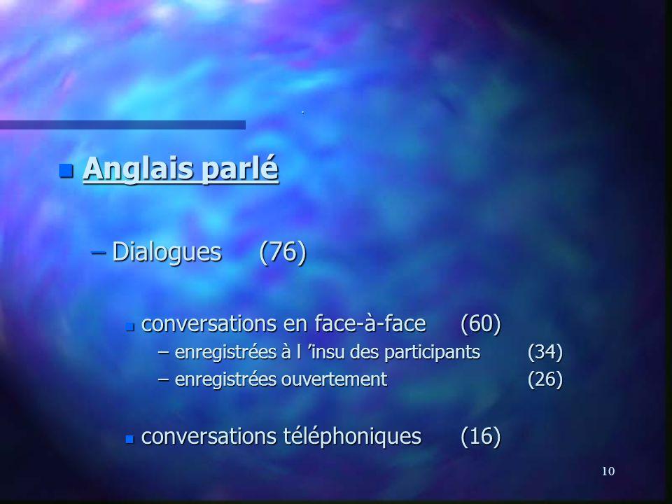 10. n Anglais parlé –Dialogues(76) n conversations en face-à-face(60) –enregistrées à l insu des participants(34) –enregistrées ouvertement(26) n conv