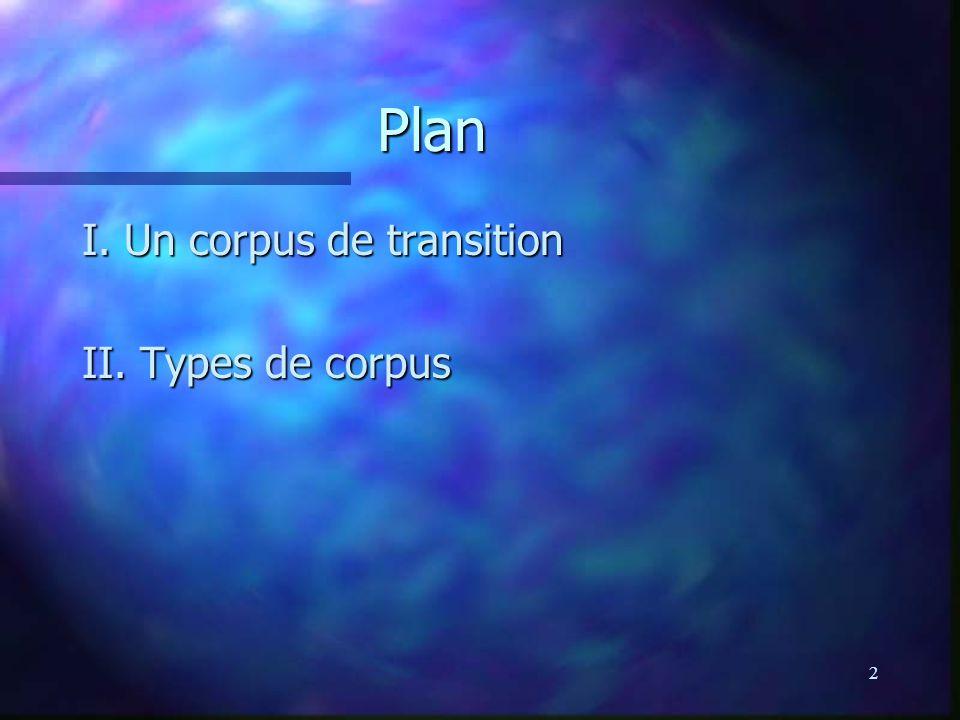 33 Corpus dynamiques n n Corpus statique vs dynamique (moniteur) n n corpus statique = ensemble fini de textes n n corpus dynamique = corpus en expansion continue, reflétant et suivant l évolution de la langue en temps réel (= corpus moniteur) n n COBUILD => Bank of English