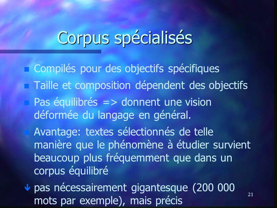 21 Corpus spécialisés n n Compilés pour des objectifs spécifiques n n Taille et composition dépendent des objectifs n n Pas équilibrés => donnent une vision déformée du langage en général.