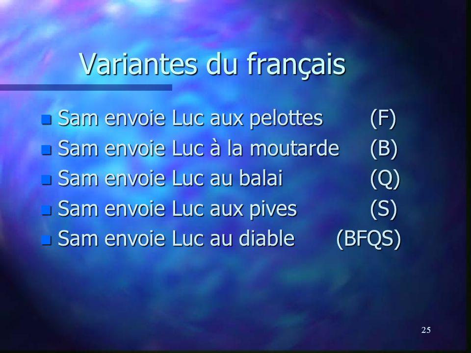 25 Variantes du français n Sam envoie Luc aux pelottes(F) n Sam envoie Luc à la moutarde(B) n Sam envoie Luc au balai(Q) n Sam envoie Luc aux pives(S) n Sam envoie Luc au diable (BFQS)