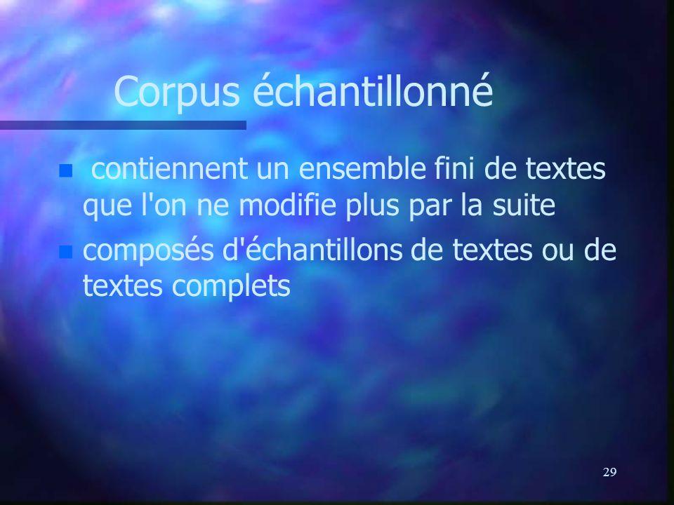 29 Corpus échantillonné n n contiennent un ensemble fini de textes que l on ne modifie plus par la suite n n composés d échantillons de textes ou de textes complets