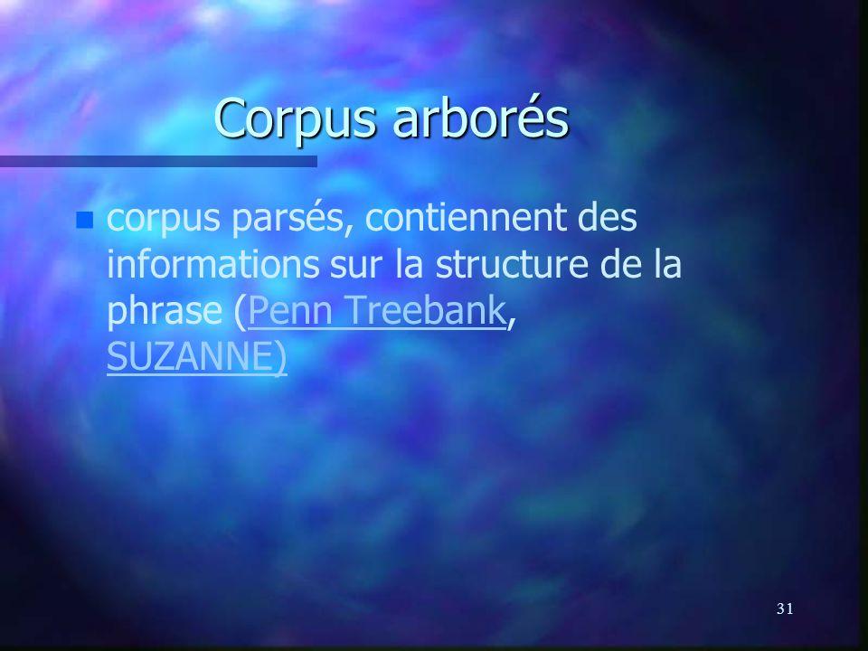 31 Corpus arborés n n corpus parsés, contiennent des informations sur la structure de la phrase (Penn Treebank, SUZANNE)Penn Treebank SUZANNE)