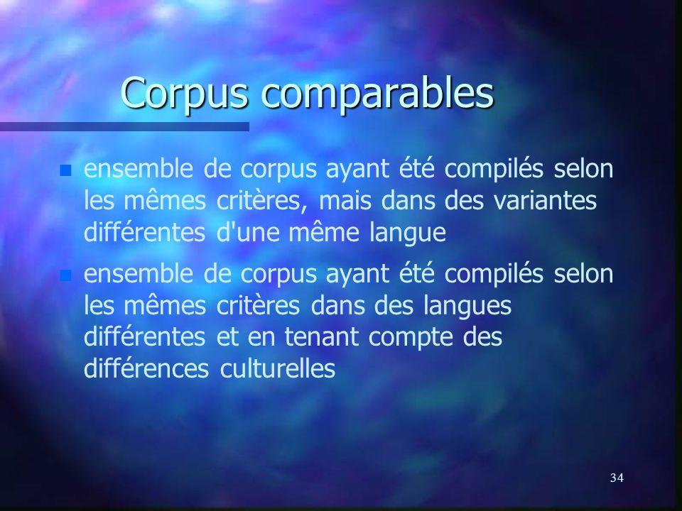 34 Corpus comparables n n ensemble de corpus ayant été compilés selon les mêmes critères, mais dans des variantes différentes d une même langue n n ensemble de corpus ayant été compilés selon les mêmes critères dans des langues différentes et en tenant compte des différences culturelles