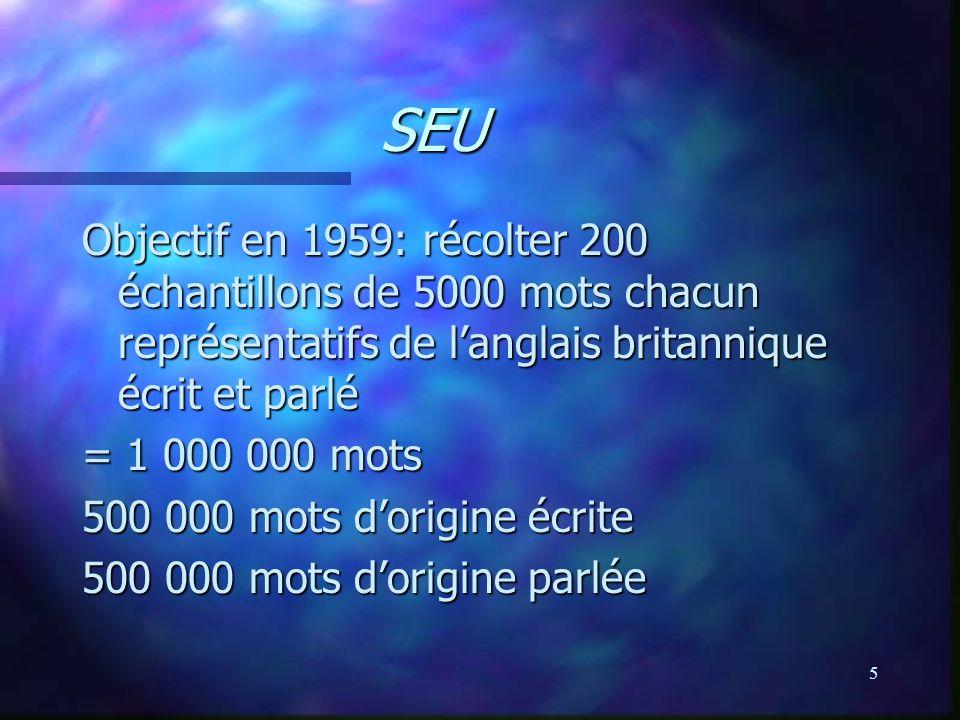 5 SEU Objectif en 1959: récolter 200 échantillons de 5000 mots chacun représentatifs de langlais britannique écrit et parlé = 1 000 000 mots 500 000 mots dorigine écrite 500 000 mots dorigine parlée