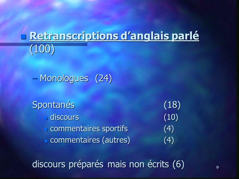 9. n Retranscriptions danglais parlé (100) –Monologues (24) Spontanés(18) n discours(10) n commentaires sportifs(4) n commentaires (autres)(4) discour