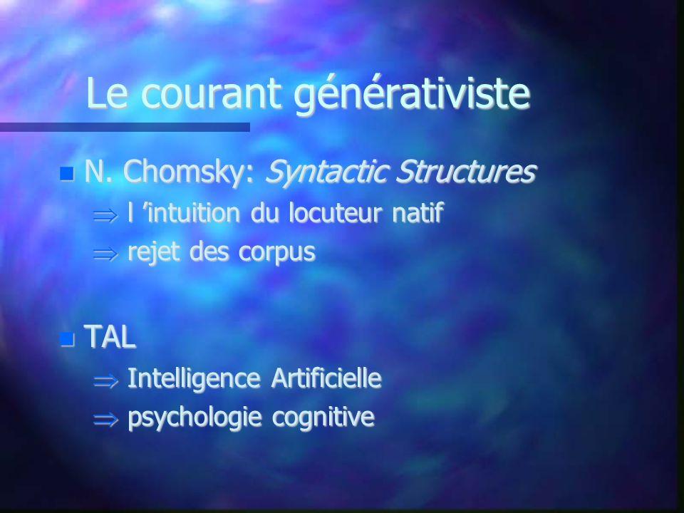 Le courant générativiste N. Chomsky: Syntactic Structures N. Chomsky: Syntactic Structures l intuition du locuteur natif l intuition du locuteur natif