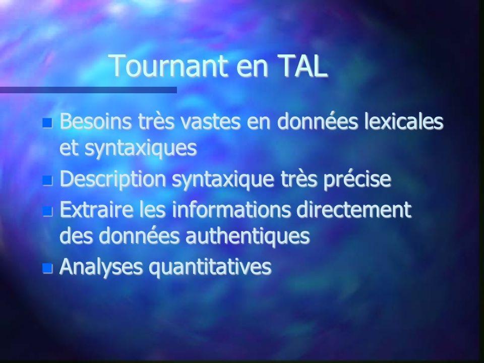 Tournant en TAL Besoins très vastes en données lexicales et syntaxiques Besoins très vastes en données lexicales et syntaxiques Description syntaxique