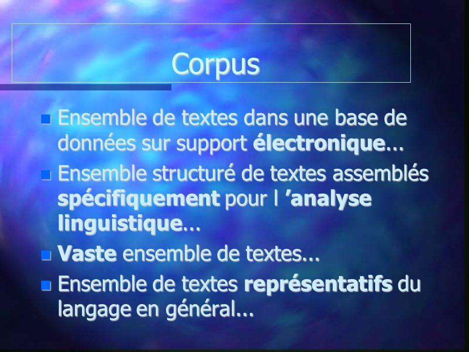 Corpus Corpus Ensemble de textes dans une base de données sur support électronique... Ensemble de textes dans une base de données sur support électron