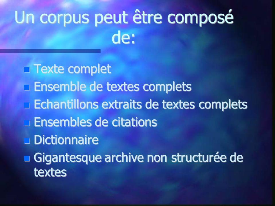 Un corpus peut être composé de: Texte complet Texte complet Ensemble de textes complets Ensemble de textes complets Echantillons extraits de textes co