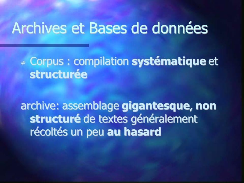 Archives et Bases de données Corpus : compilation systématique et structurée Corpus : compilation systématique et structurée archive: assemblage gigan