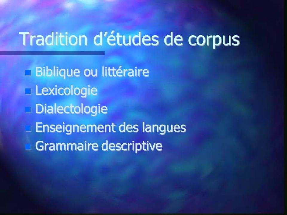 Tradition détudes de corpus Biblique ou littéraire Biblique ou littéraire Lexicologie Lexicologie Dialectologie Dialectologie Enseignement des langues