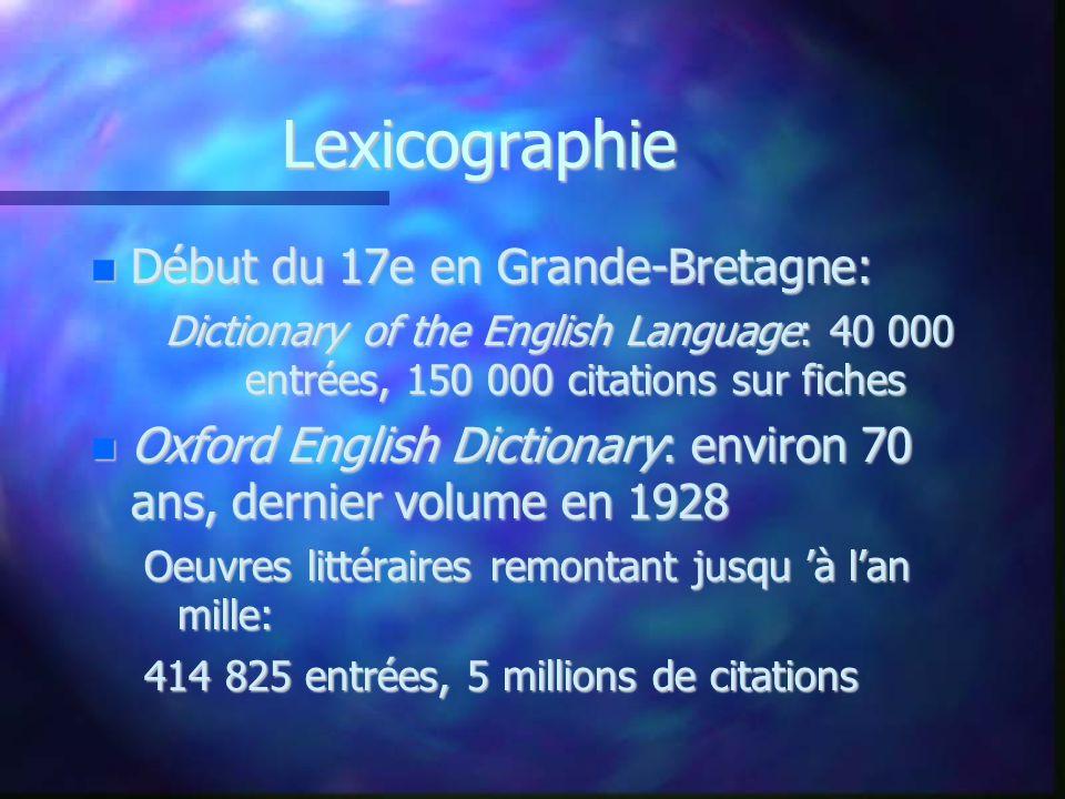 Lexicographie Début du 17e en Grande-Bretagne: Début du 17e en Grande-Bretagne: Dictionary of the English Language: 40 000 entrées, 150 000 citations