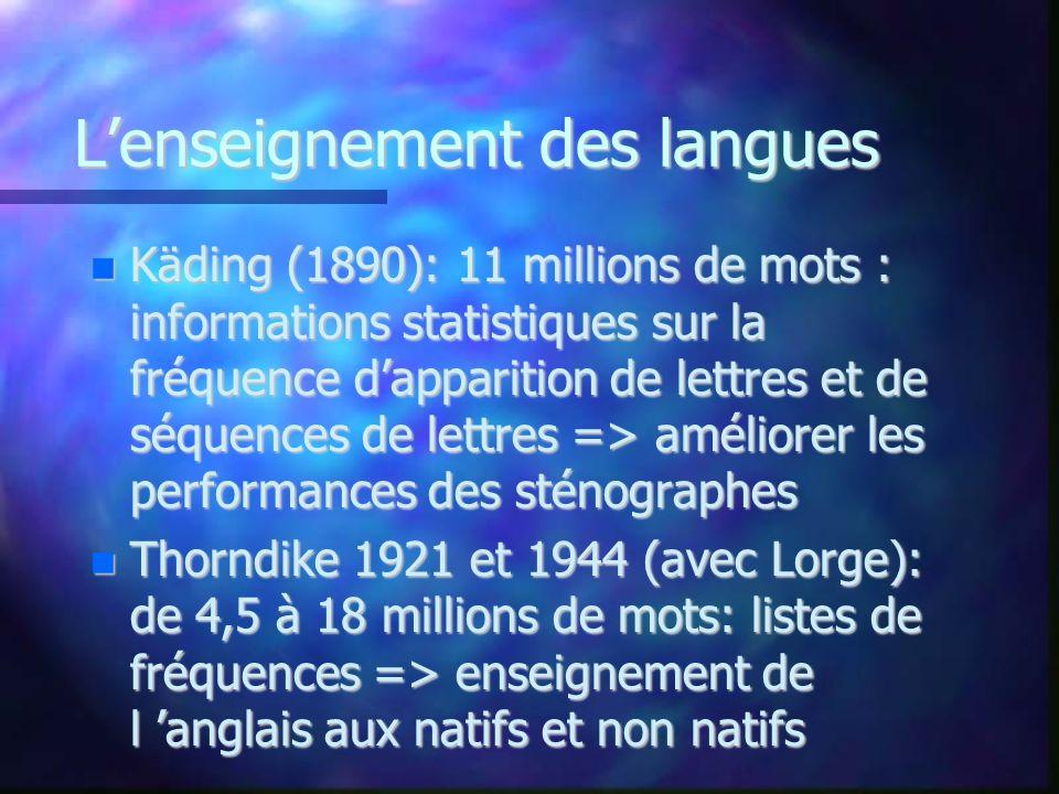 Lenseignement des langues Käding (1890): 11 millions de mots : informations statistiques sur la fréquence dapparition de lettres et de séquences de le