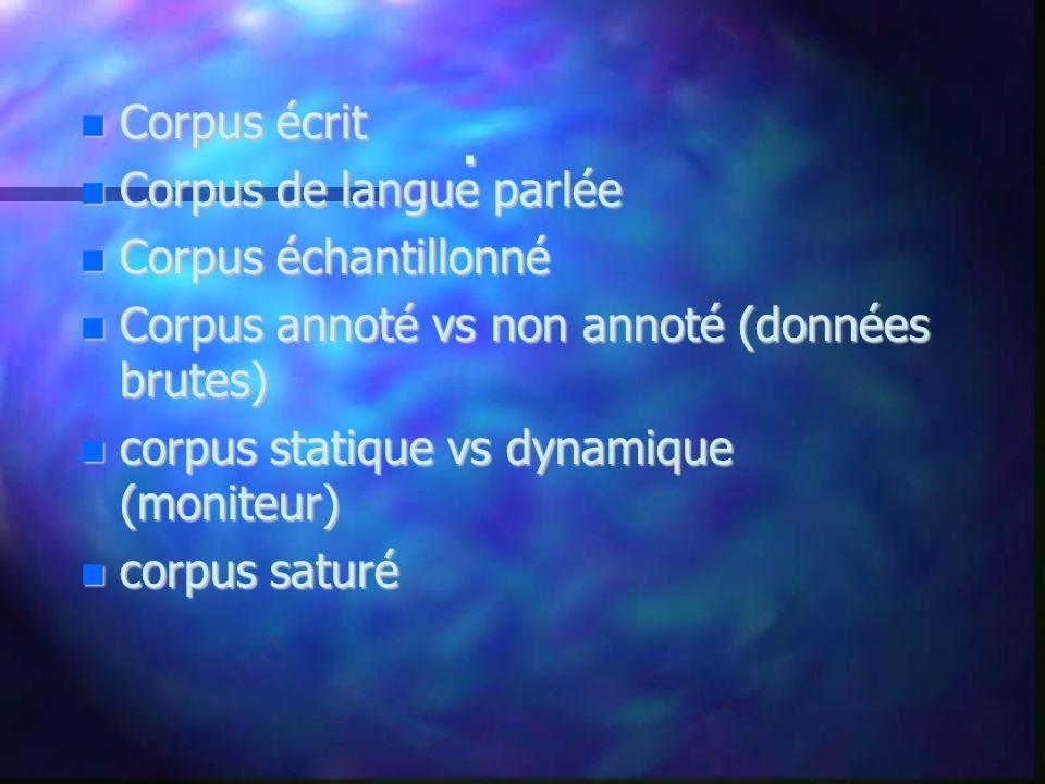 . Corpus écrit Corpus écrit Corpus de langue parlée Corpus de langue parlée Corpus échantillonné Corpus échantillonné Corpus annoté vs non annoté (don